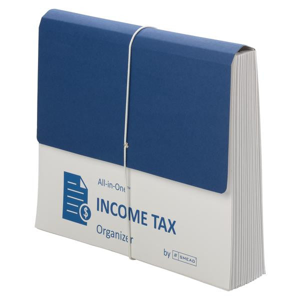 Smead All-in-One Income Tax Organizer, 12 Pockets, Flap and Cord Closure, Letter Size, Navy/White (70660)
