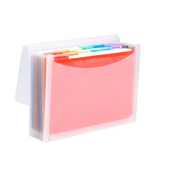 Smead Poly ColorVue™ Expanding File, 12 Dividers, Flap and Cord Closure, Letter Size, Wave Pattern Clear with Rainbow Colored Dividers (70723)