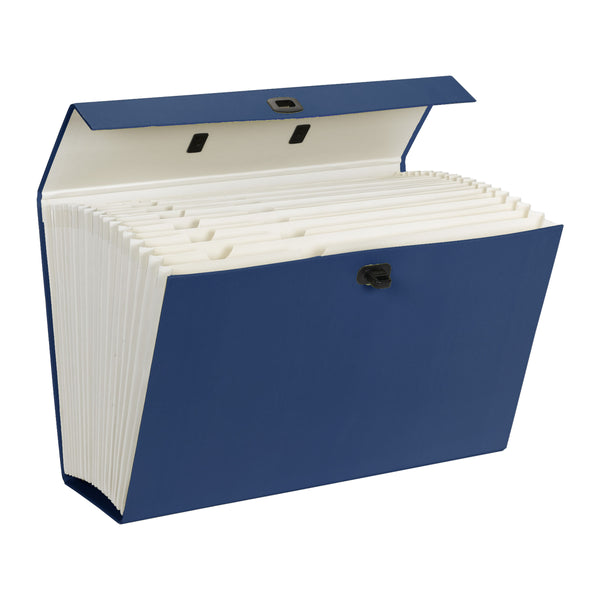 Smead Portable Expanding File Box, 19 Pockets, Alphabetic (A-Z) and Subject Labels, Legal, Blue (70806)