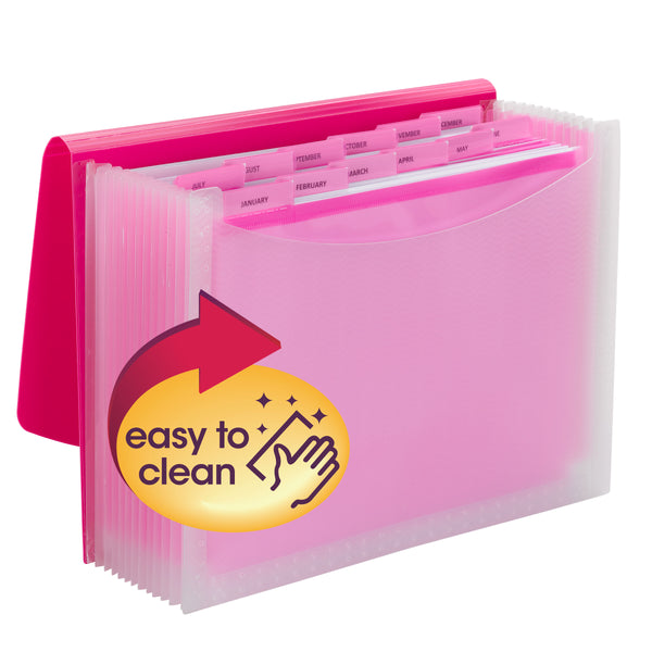 Smead Poly Expanding File, 12 Dividers, Flap and Cord Closure, Letter Size, Wave Pattern Pink/Clear (70864)