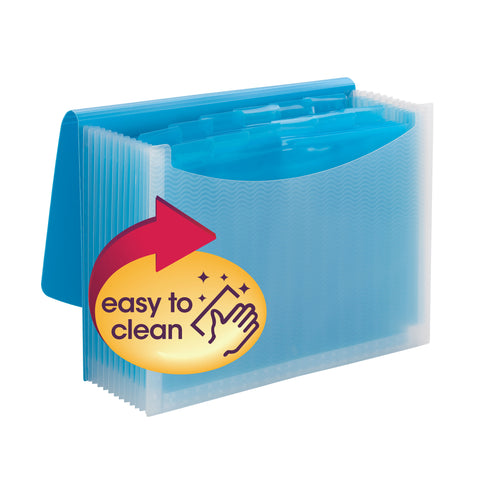 Smead Poly Expanding File, 12 Dividers, Flap and Cord Closure, Letter Size, Wave Pattern Teal/Clear (70869)
