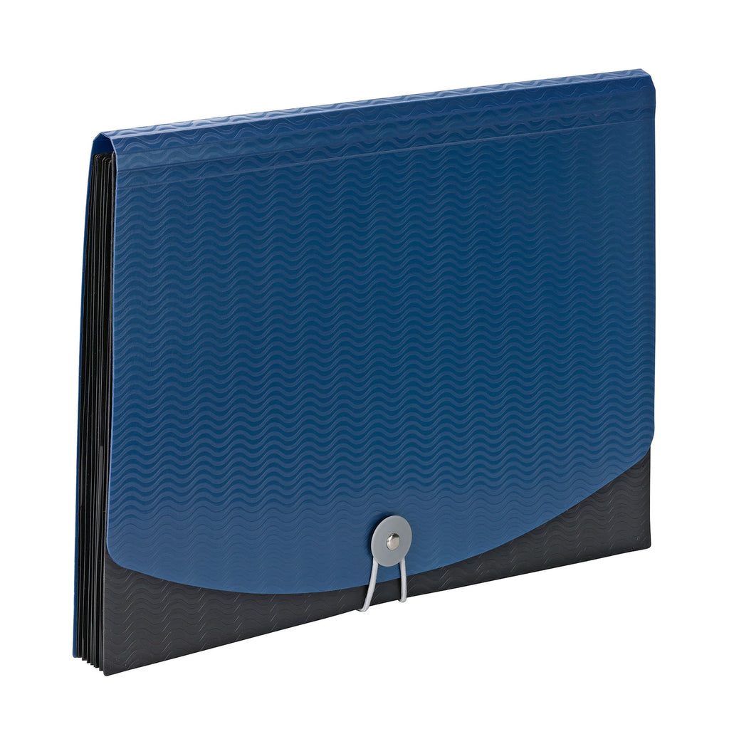 Smead Poly Expanding File, 6 Dividers, Flap and Cord Closure, Letter Size, Wave Pattern Blue/Black (70872)