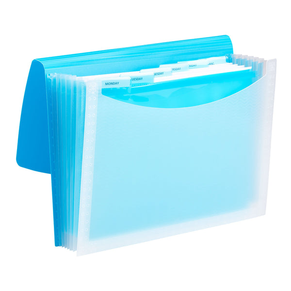 Smead Poly Expanding File, 6 Dividers, Flap and Cord Closure, Letter Size, Wave Pattern Teal/Clear (70873)