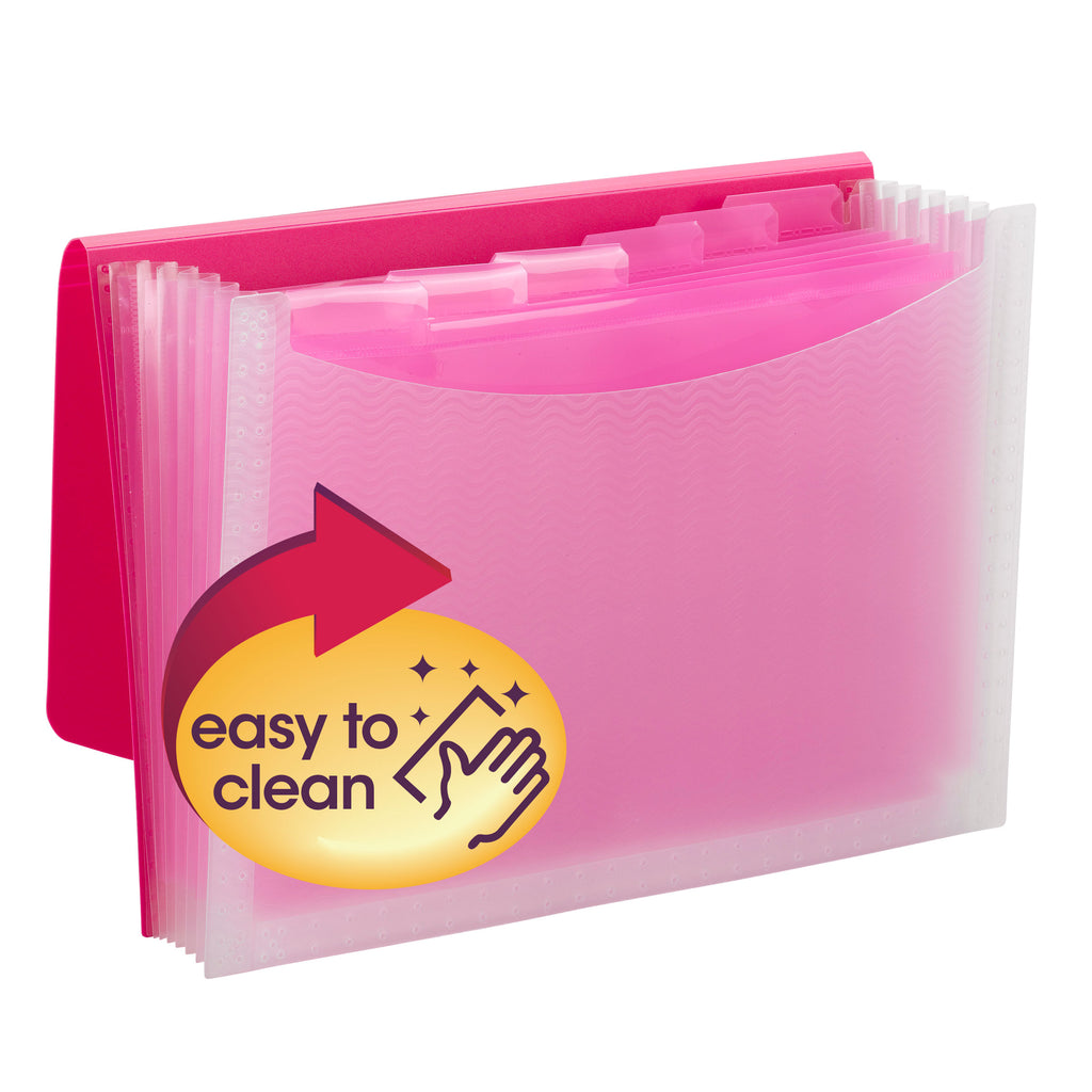 Smead Poly Expanding File, 6 Dividers, Flap and Cord Closure, Letter Size, Wave Pattern Pink/Clear (70874)