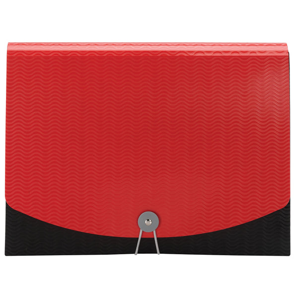 Smead Poly Expanding File, 6 Dividers, Flap and Cord Closure, Letter Size, Wave Pattern Red/Black (70884)