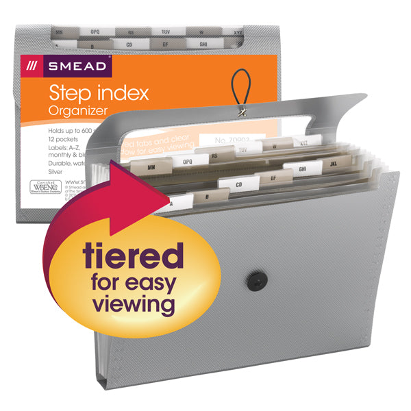 Smead Step Index Poly Organizer, 12 Pockets, Flap and Cord Closure, Letter Size, Silver (70903)