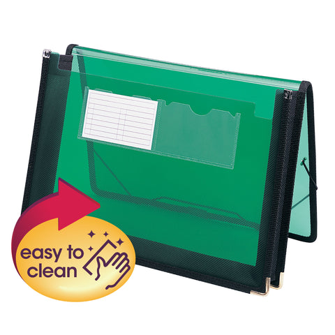"Smead Poly Wallet, 2-1/4"" Expansion, Flap and Cord Closure, Letter Size, Green (71951)"