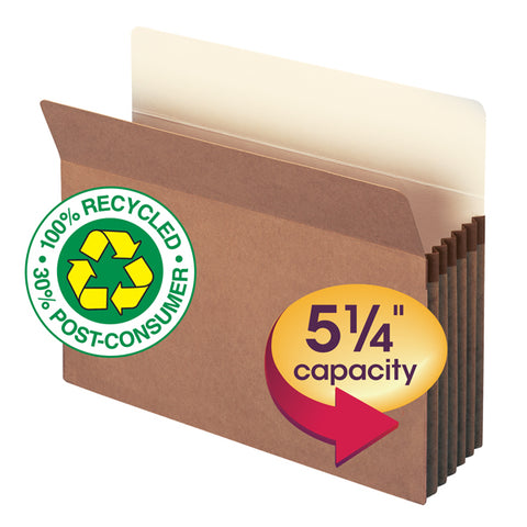 "Smead 100% Recycled File Pocket, Straight-Cut Tab, 5-1/4"" Expansion, Letter Size, Redrope, 10 per Box (73206)"