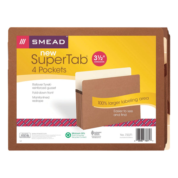"Smead SuperTab® Pocket, Straight-Cut Tab, 3-1/2"" Expansion, Letter Size, Redrope, 4 Pack (73371)"