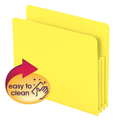 "Smead Poly File Pocket, Straight-Cut Tab, 3-1/2"" Expansion, Letter Size, Yellow, Pack of 4 (73504)"