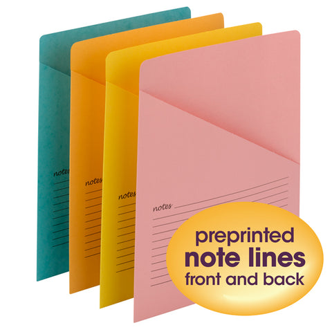 Smead Organized Up® Notes Slash Jacket, Letter Size, Assorted Colors, 12 per Pack (75427)