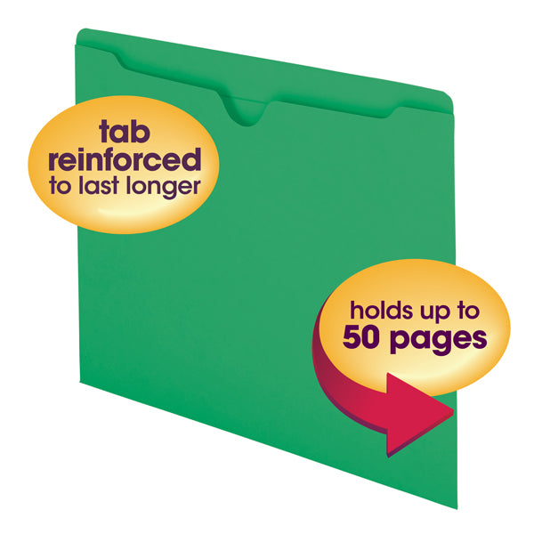 Smead File Jacket, Reinforced Straight-Cut Tab, Flat-No Expansion, Letter Size, Green, 100 per Box (75503)