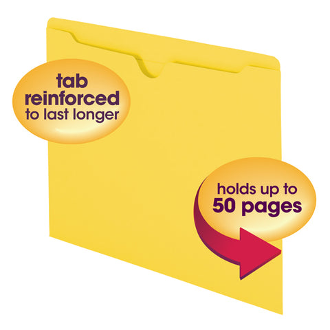 Smead File Jacket, Reinforced Straight-Cut Tab, Flat-No Expansion, Letter Size, Yellow, 100 per Box (75511)