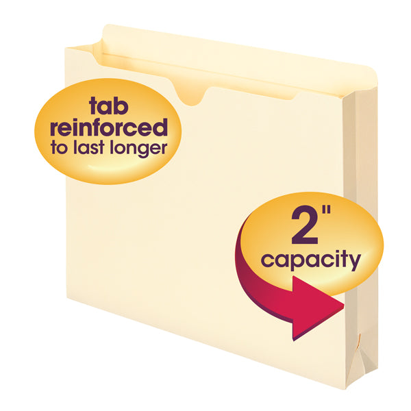 "Smead File Jacket, Reinforced Straight-Cut Tab, 2"" Expansion, Letter Size, Manila, 50 per Box (75560)"