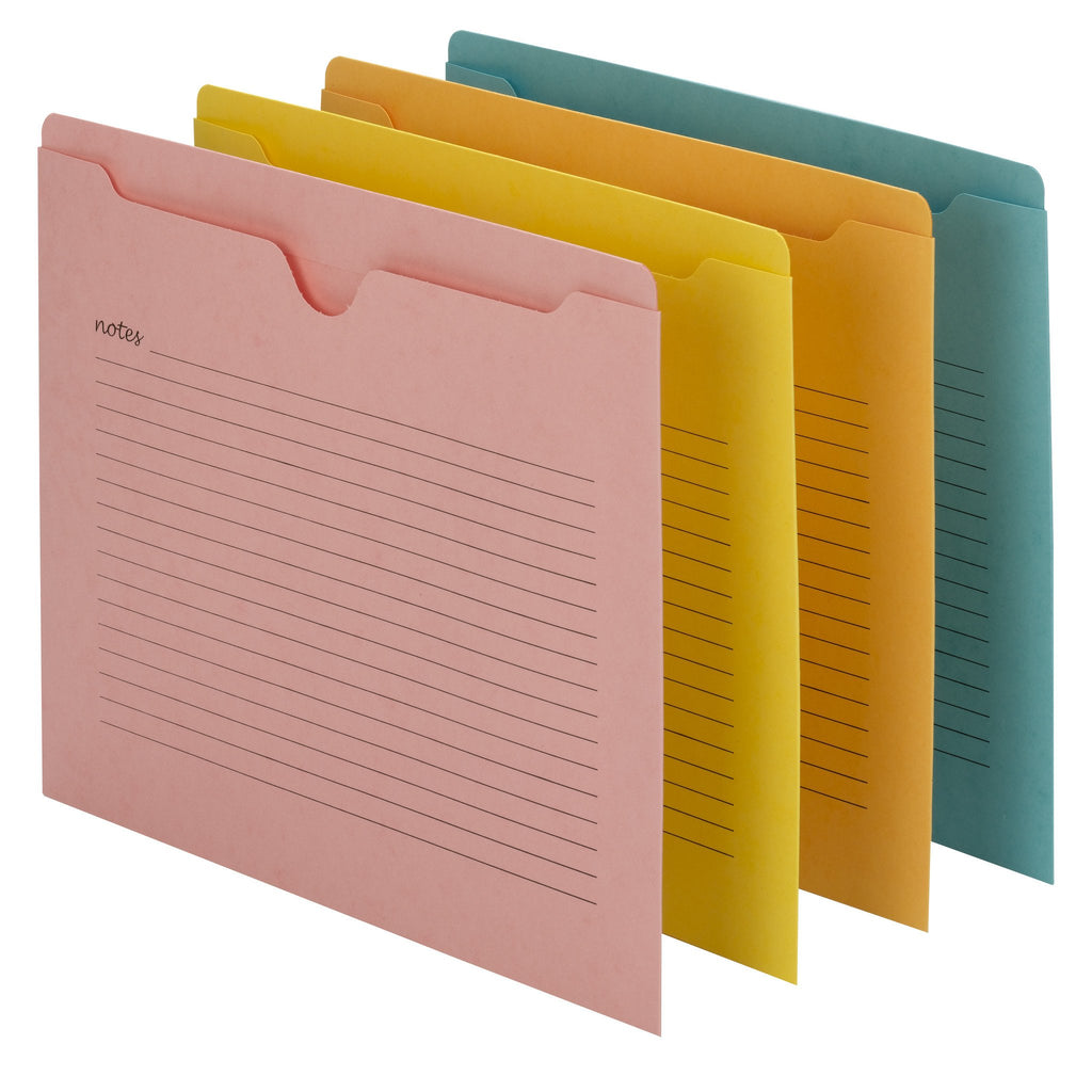 smead notes file jacket letter size assorted colors 12 pack