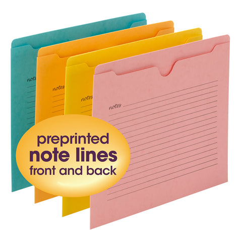 Smead Notes File Jacket, Letter Size, Assorted Colors, 12 per Pack (75616)