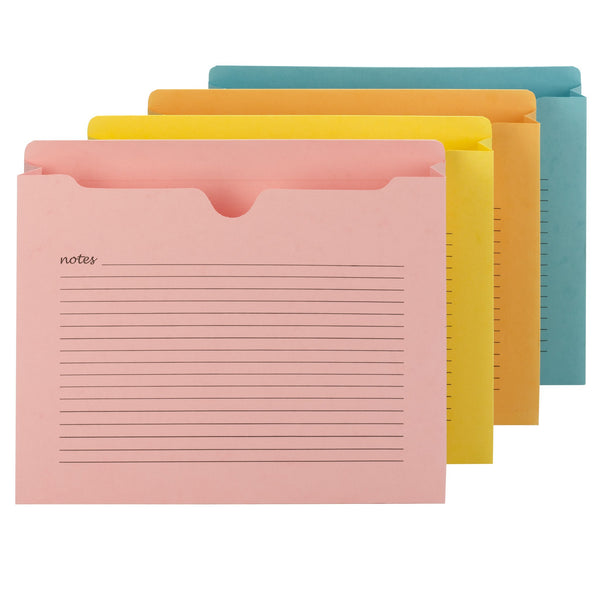 "Smead Notes File Jacket, Letter Size, 2"" Expansion, Assorted Colors, 12 Per Pack (75694)"