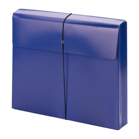 "Smead Fashion Wallet, 2"" Expansion, Flap and Cord Closure, Letter Size, Dark Blue, 1 Each (77238)"