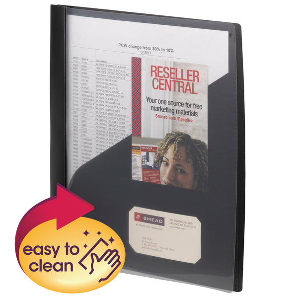 Smead Clear Front Poly Report Cover, 3 Tang-style Fasteners, Up to 25 Sheets, Letter Size, Black, 5 per Pack (86010)