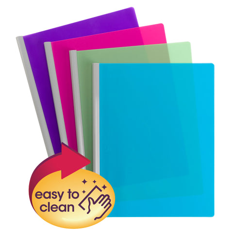 Smead Poly Report Cover with Sliding Bar, Letter Size, 25 Sheet Capacity, Assorted Colors,  4 per Pack (86047)