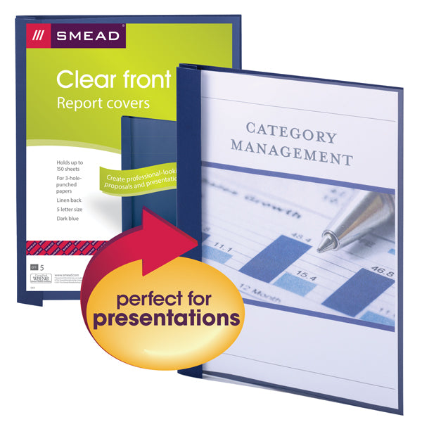 Smead Clear Front Report Cover, Three Double Tang Fasteners, Side Fastener, Letter Size, Linen Stock Dark Blue, 5 per Pack (87443)