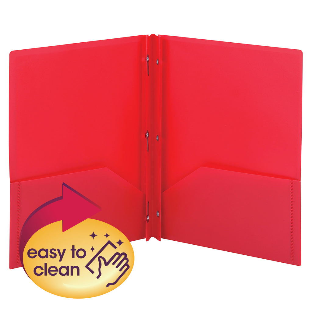 Smead Poly Two-Pocket Folder with Tang Style Fasteners, Letter Size, Red, 3 per Pack (87730)