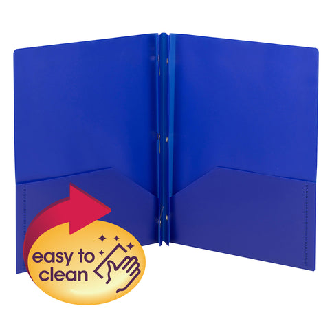 Smead Poly Two-Pocket Folder with Tang Style Fasteners, Letter Size, Blue, 3 per Pack (87731)