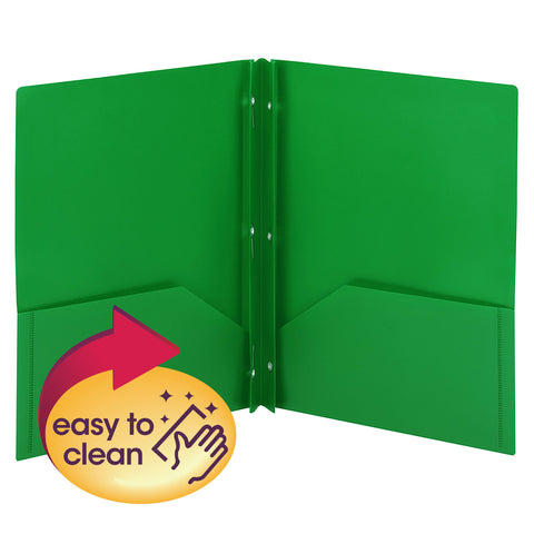 Smead Poly Two-Pocket Folder with Tang Style Fasteners, Letter Size, Green, 3 per Pack (87732)