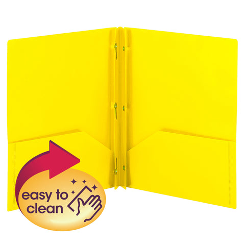 Smead Poly Two-Pocket Folder with Tang Style Fasteners, Letter Size, Yellow, 3 per Pack (87733)