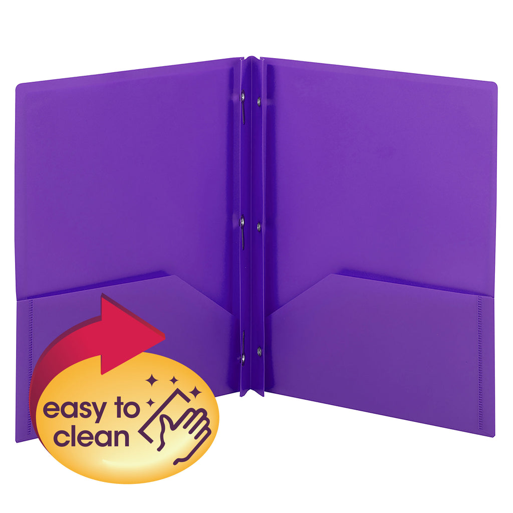 Smead Poly Two-Pocket Folder with Tang Style Fasteners, Letter Size, Purple, 3 per Pack (87734)