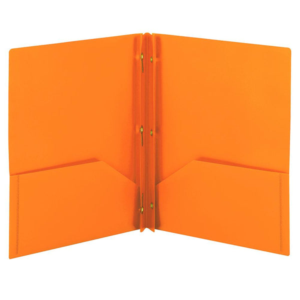 Smead Poly Two-Pocket Folder with Tang Style Fasteners, Letter Size, Orange, 3 per Pack (87735)