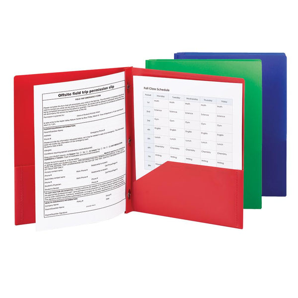Smead Poly Two-Pocket Folder with Tang Style Fasteners, Letter Size, Assorted Colors, 3 per Pack (87737)