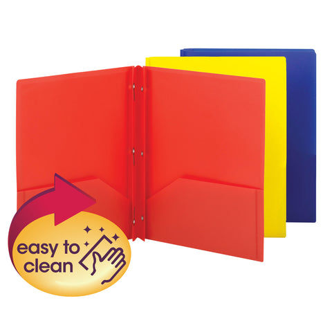 Smead Poly Two-Pocket Folder with Tang Style Fasteners, Letter Size, Assorted Colors, 3 per Pack (87738)