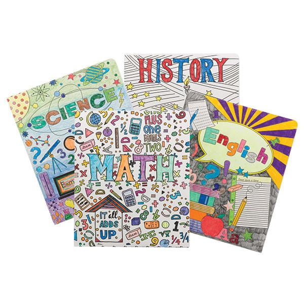 Smead Two-Pocket Coloring Folder, School Subjects, Letter Size,  4 per pack (87910)