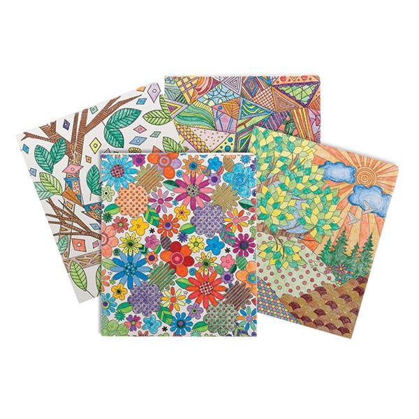 Smead Two-Pocket Coloring Folder, Floral-nature-birds and geometric designs, Letter Size, 4 per pack (87911)