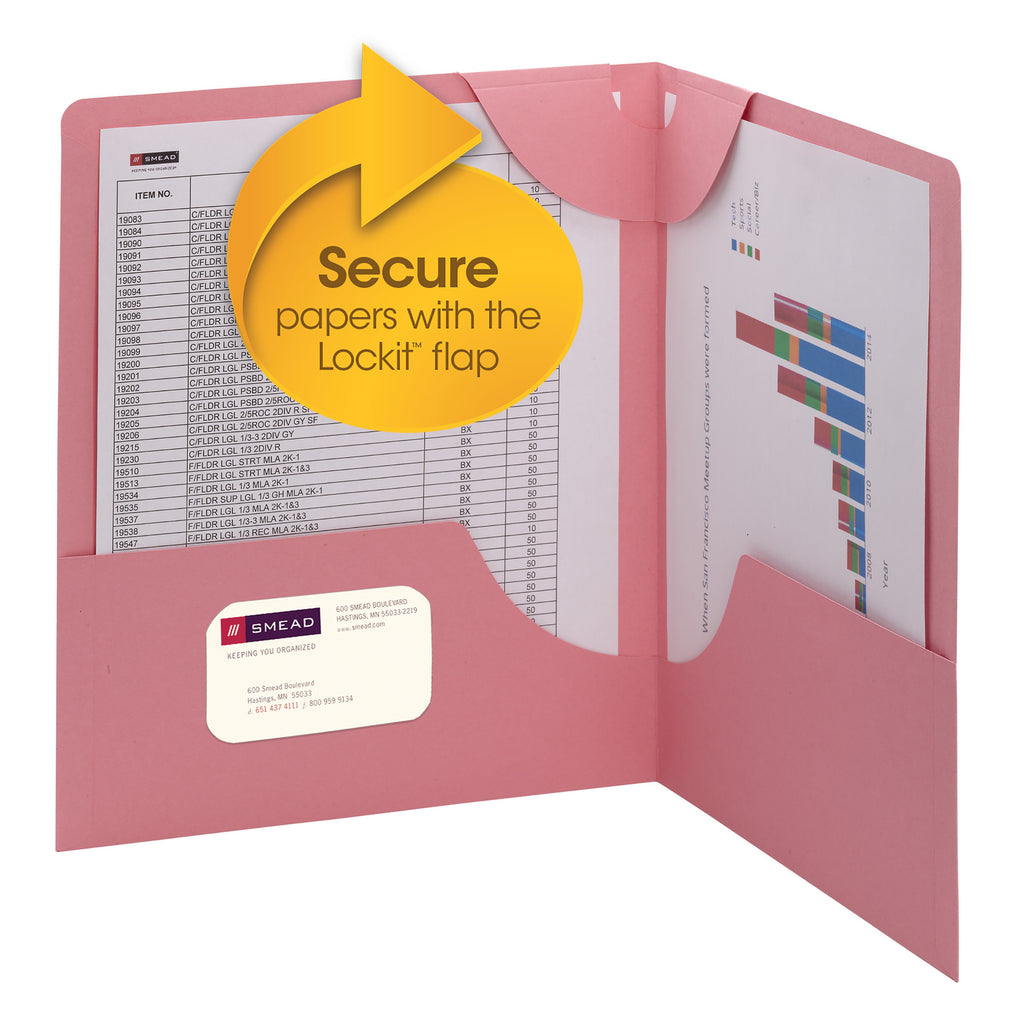 Smead Lockit® Two-Pocket Folder, Letter Size, Dark Pink, 6 per Pack (87940)