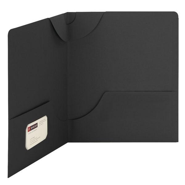 Smead Lockit® Two-Pocket File Folder, Letter Size, Black, 25 per Box (87981)