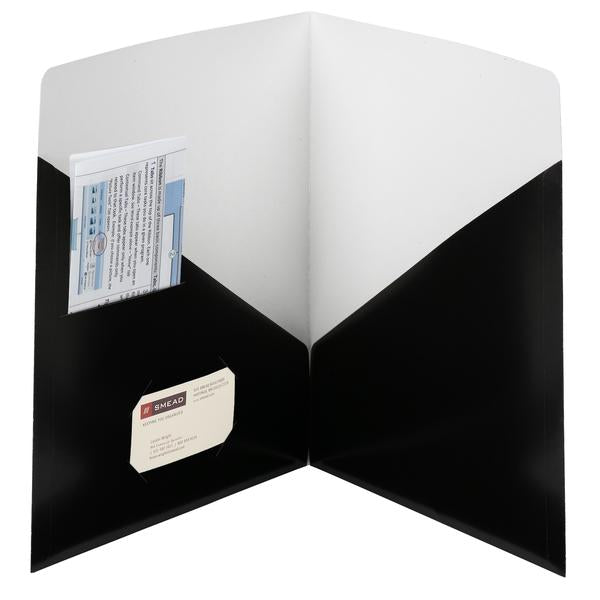 Box of 25 Smead Contemporary Classic Two-Pocket File Folders, Letter Size, Black, (87990)