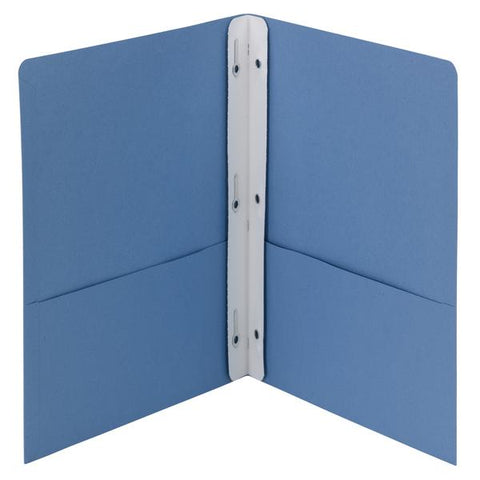 Box of 25 Smead Two-Pocket Heavyweight Folders, Tang Strip Style Fastener, Blue (88052)