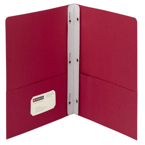 Box of 25 Smead Two-Pocket Heavyweight Folders, Tang Strip Style Fastener, Red (88059)