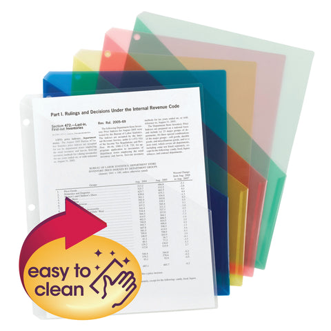 Smead Organized Up® Poly Translucent Slash File Jacket, Three-Hole Punched, Letter Size, Assorted Colors, 5 per Pack (89505)
