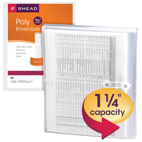 "Smead Poly Envelope, 1-1/4"" Expansion, String-Tie Closure, Side Load, Letter Size, Clear, 5-Pack (89521)"