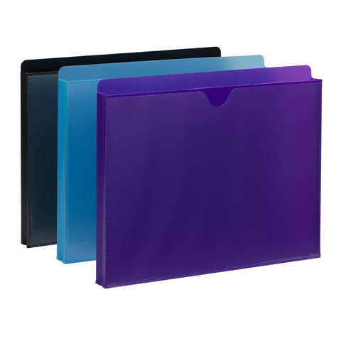 "Smead Poly File Jacket, Straight-Cut Tab, 1"" Expansion, Letter Size, Assorted Colors, 6 per Pack (89612)"