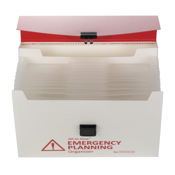 Smead All-in-One™ Emergency Planning Organizer, 12 Pockets, Letter Size, Latch Closure, Poly White/Red (92011)