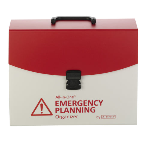 Smead All-in-One™ Emergency Planning Organizer, 13 Pockets, Letter Size, Latch Closure, Poly White/Red (92011)