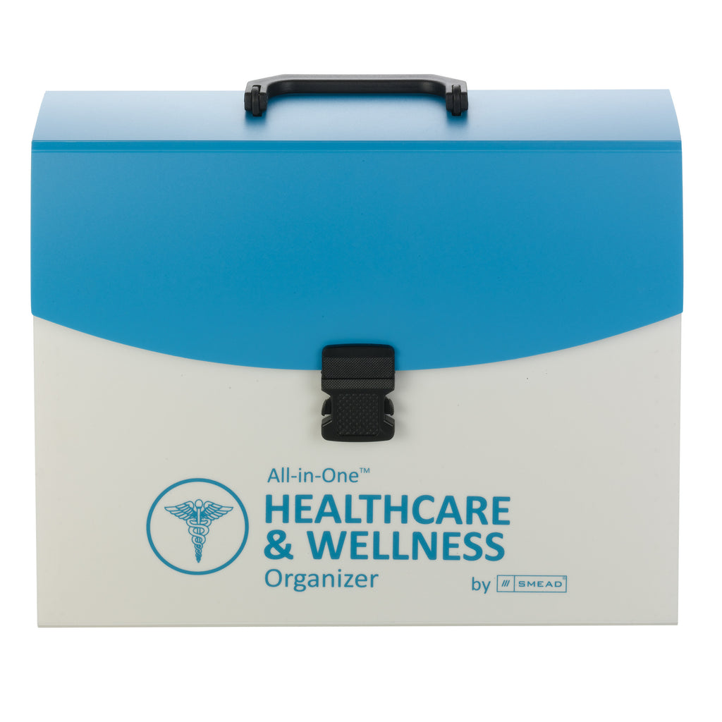 Smead All-in-One™ Healthcare & Wellness Organizer, 13 Pockets, Letter Size, Latch Closure, Poly White/Teal (92012)