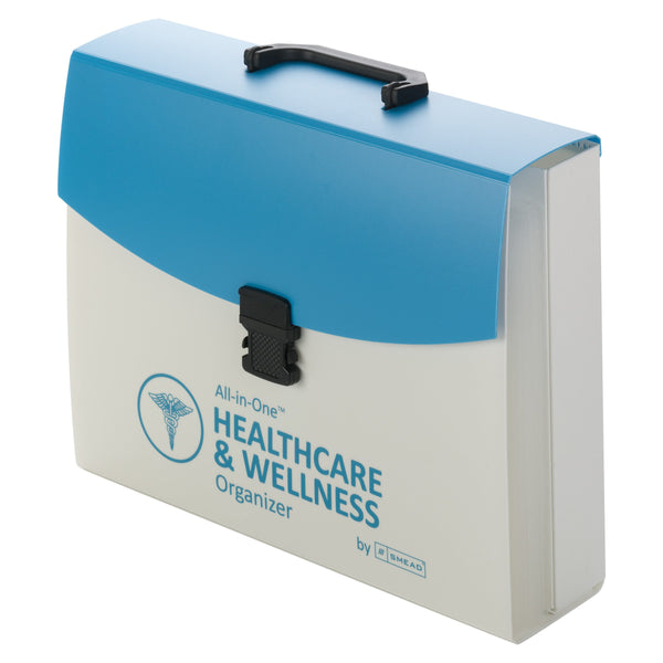 Smead All-in-One™ Healthcare & Wellness Organizer, 12 Pockets, Letter Size, Latch Closure, Poly White/Teal (92012)
