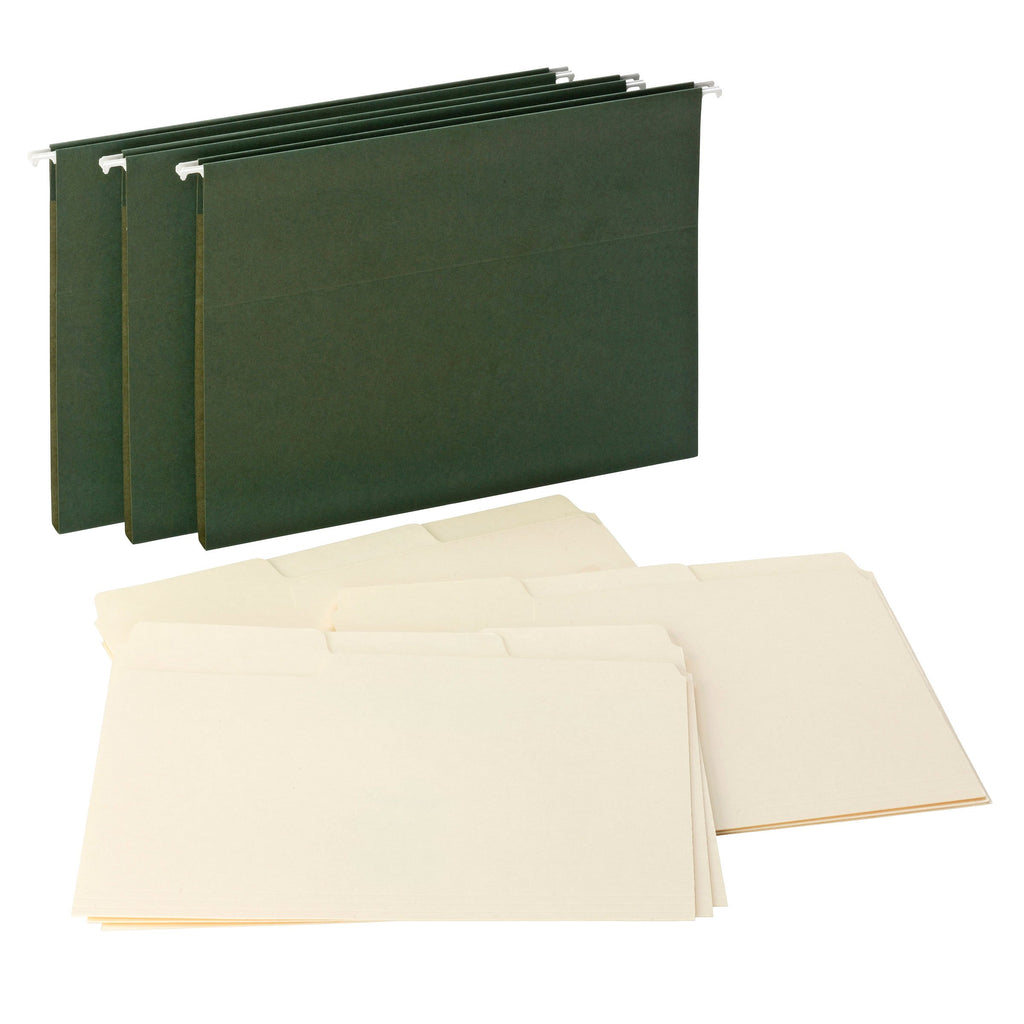"Smead Reveal Hanging Folders with SuperTab® Folders Kit, 1/2"" Expansion, 1/3-Cut Oversized Tabs, Letter Size, Green/Manila (92016)"