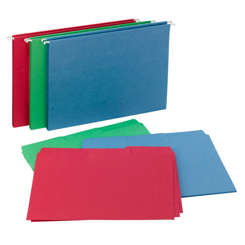 "Smead Reveal Hanging Folders with SuperTab® Folders Kit, 1/2"" Expansion, 1/3-Cut Oversized Tabs, Letter Size, Assorted Colors (92018)"
