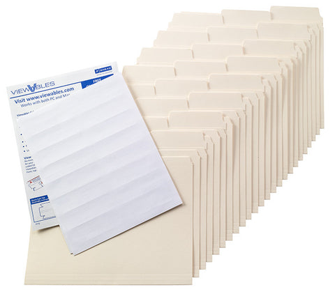SuperTab® Manila Folder Kit, Oversized Reinforced 1/3-Cut Tab, Letter Size with Viewables Labels (92023)